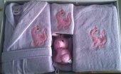 Bahar Class Baby Bebek Bornoz Seti Lila