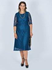 Nidya Moda Büyük Beden Sıfır Yaka Dantel Petrol Abiye Elbise 4036p