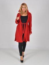 Nidya Moda Büyük Beden Kapşonlu Kuşaklı Kırmızı Cekettunik 1016sk