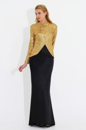 Nidya Moda Büyük Beden Peplumlu Pullu Payet Gold Abiye Ceket Tunık 5010d