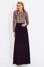 Nidya Moda Büyük Beden Üst Dantelli Mürdüm Uzun Abiye Tesettür Elbise 4049m