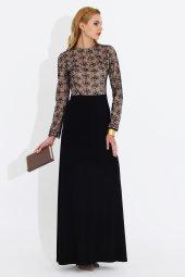 Nidya Moda Büyük Beden Üst Dantellisiyah Abiye Uzun Tesettür Elbise 4049s