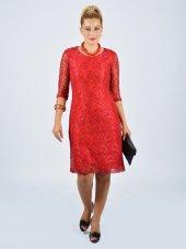 Nidya Moda Büyük Bedenyarım Kol Dantel Kırmızı Abiye Elbise 4009dk