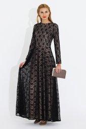 Nidya Moda Büyük Beden Dantel Kaplama Pudra Abiye Uzun Tesettür Elbise 4051p