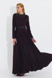 Nidya Moda Büyük Beden Yaka Kemer Derili Uzun Mürdüm Elbise 4041m