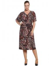 Nidya Moda Büyük Beden Şal Desen Kuşaklı Kahverengi Elbise 4071sk