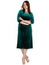 Nidya Moda Büyük Beden Pilili İnci Yaka Yeşil Kadife Abiye Elbise 4074y