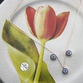 Besen Gümüş Rose Etrafı Firuze Taşlı Zirkon Tek Taşlı Set
