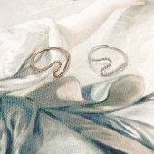 Besen Gümüş Rose Ve Beyaz Rodajlı Zirkon Taşlı S Model Bayan Yüzük