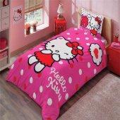 Taç Lisanslı Tek Kişilik Nevresim Takımı Hello Kitty Pink