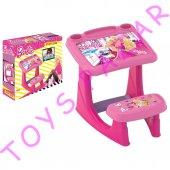 Barbie Kız Çocuk Ders Çalışma Masası Çocuk Masa Sandalye Set