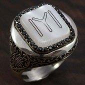 925 Ayar Gümüş Erkek Gümüş Yüzük Yuvarlak Kayı Boyu