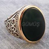 925 Ayar Gümüş Erkek Yüzük Kolu Desenli Mat Yeşil Taşlı