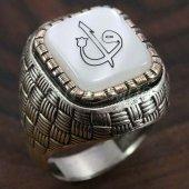 925 Ayar Gümüş Erkek Yüzük Elif Vav Arapça Harf Hasır Model 6266