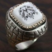 925 Ayar Gümüş Erkek Yüzük Çiftbaşlı Arnavut Kartalı Hasır Model 6264