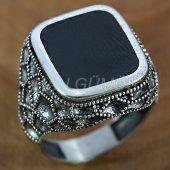 925 Ayar Gümüş Erkek Yüzük Petek Model Siyah Mineli