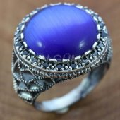 925 Ayar Gümüş Erkek Yüzük Kaplan Gözü Mavi Taşlı...