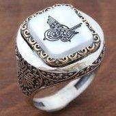 925 Ayar Gümüş Erkek Yüzük Osmanlı Tuğrası