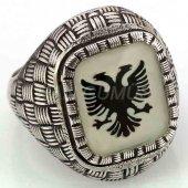 925 Ayar Gümüş Erkek Yüzüğü Arnavut Kartalı Beyaz Meneli