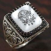 925 Ayar Gümüş Erkek Yüzük Osmanlı Arması Köşeli Model Taşlı
