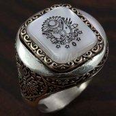 925 Ayar Gümüş Erkek Yüzük Desenli Osmanlı Arması