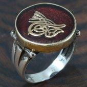925 Ayar Gümüş Erkek Yüzük Osmanlı Tuğrası Kırmızı Mineli
