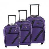 ççs 069 Trolley Kumaş Valiz Bavul Seti Mor