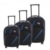 ççs 069 Trolley Kumaş Valiz Bavul Seti Siyah Mavi