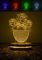 3 Boyutlu Led Lamba Vazo Çiçek (Lb1020)..asudehome