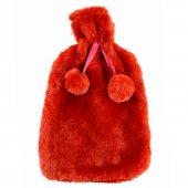Termofor,kokusuz Kırmızı Ponponlu Sıcak Su Torbası