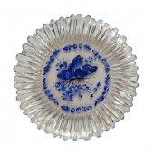 El Boyama Dekoratif Pasta Tabağı Şeffaf Mavi Kelebek