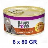 Happy Paws Kuzu Etli Ve Soslu Yetişkin Kedi Konservesi 80 Gr (6 Adet)