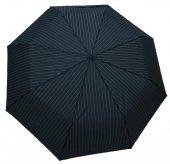 Zeus & Co Siyah Çizgili Rüzgarda Kırılmayan Otomatik Şemsiye