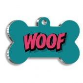 Pet Tag Art Woof Kemik Şekilli Köpek Künyesi