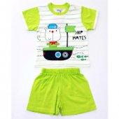 Minice Kids Gemi Nakışlı Şortlu Erkek Bebek Takımı Yeşil
