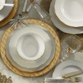 Kütahya Porselen İlay Yaldızlı 24 Prç Krem Yemek Takımı