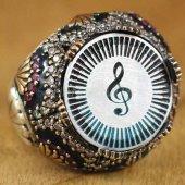 Erkek Gümüş Yüzük Lüks Mineli Sol Anahtarı Müzik