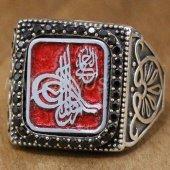 Erkek Gümüş Yüzük Köşeli Taşlı Osmanlı Tuğrası Kırmızı Mine