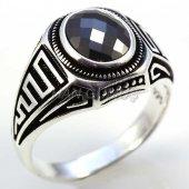 Gümüş Erkek Yüzük Oval Hematit Greek Model