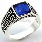 Gümüş Erkek Yüzük Kare Mavi Greek Model