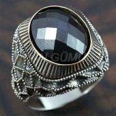 Gümüş Erkek Yüzük Petek Hematit Siyah