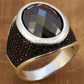 Gümüş Erkek Yüzük Siyah Zirkon Oval Taşlı Fasetli