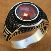 Gümüş Erkek Yüzük Siyah Zirkon Greek Kırmızı