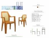 4 Adet Novussi Elit Hasır Model Sandalye (Kahverengi Renk)
