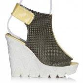 Uk Polo Club P64707 Kadın Topuklu Sandalet Altın