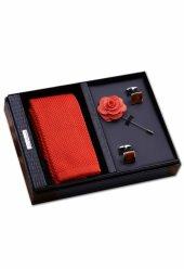 Kravat, Kol Düğmesi, Yaka Çiçeği Özel Kombin Erkek Hediye Seti Kı