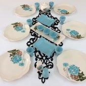 Keramika 22 Parça Turkuaz Gül Kahvaltı Takımı