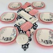 Keramika Retro Pembe 6 Kişilik Kahvaltı Takımı