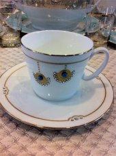 Kcd Küpeli Taşlı Bone Porselen Çay Fincanı Altın