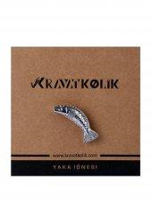 Balık Gümüş Yaka İğnesi Broş Yı38